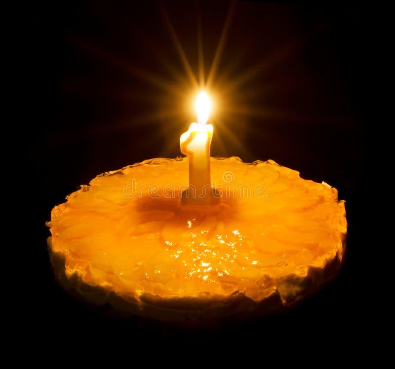 Birthday Cake With Burning Candle Stock Photo Image Of