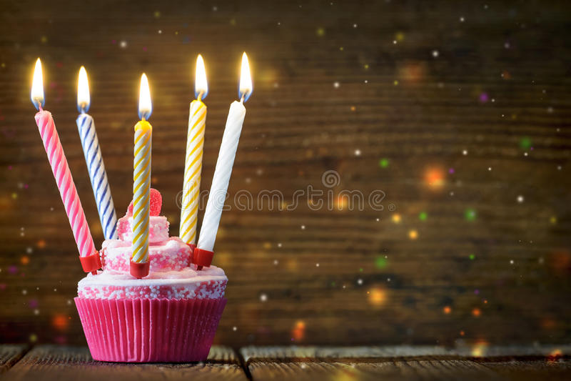 Birthday cake. With burning candles stock photography