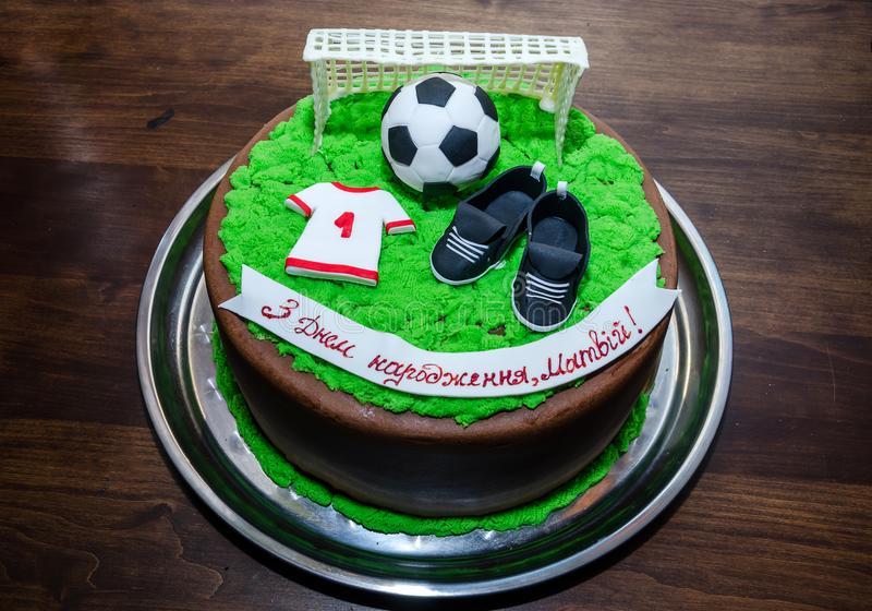 Beautiful birthday cake. Cake for a soccer player. Birthday cake. Cake for a soccer player stock images