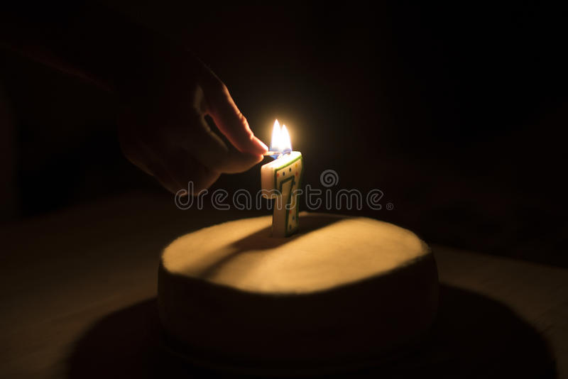Birthday cake with a candle. / royalty free stock photos