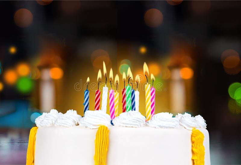 Birthday Cake. Candle Anniversary Party Celebration stock photo