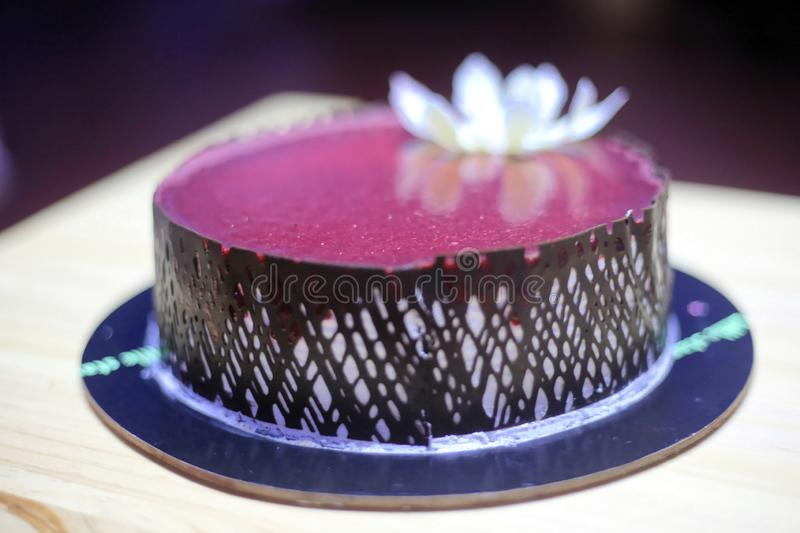Birthday cake with candle stock image
