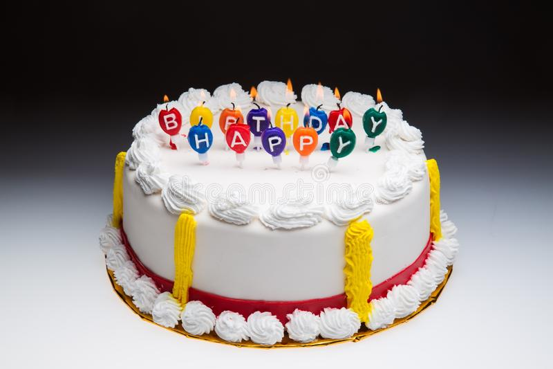 Birthday Cake. Candle Celebration Party Isolated royalty free stock images