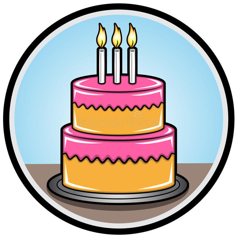 Birthday Cake with Candle. Illustration of a Birthday Cake royalty free illustration