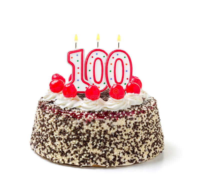 Birthday cake with candle number 100 royalty free stock photography
