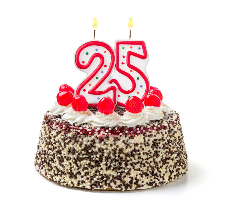 Birthday cake with candle number 25. Birthday cake with burning candle number 25 royalty free stock photo