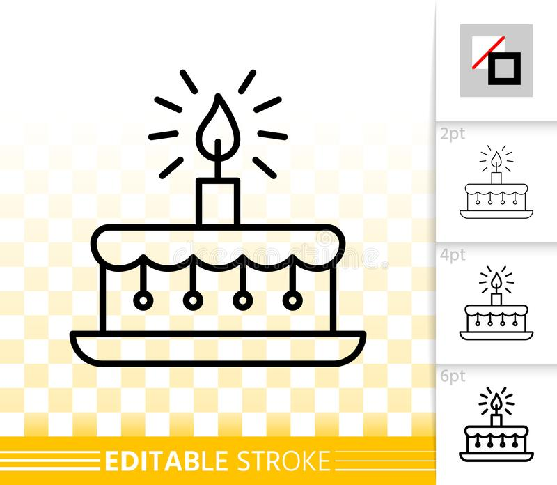 Birthday cake candle simple black line vector icon stock illustration