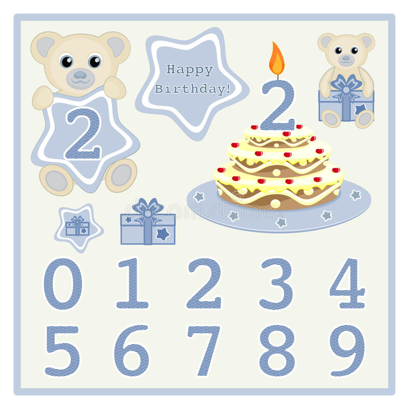 Birthday Cake And Candle Vector Cute Baby Boy Bears Vector