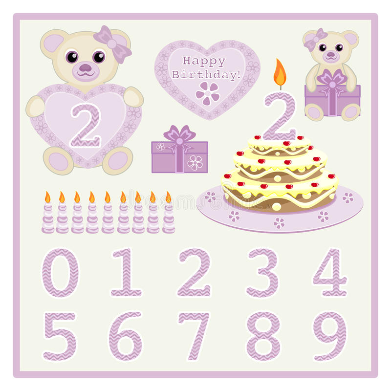Birthday Cake And Candle Vector Cute Baby Girl Bears Vector