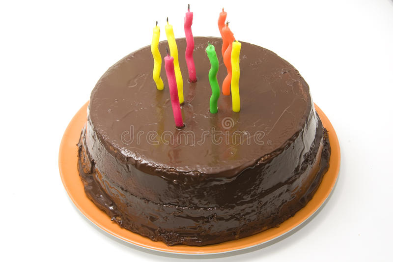 Birthday cake with candles. Chocolate birthday cake with candles stock photo