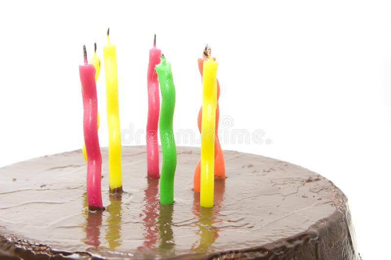 Birthday cake with candles. Chocolate birthday cake with candles stock images