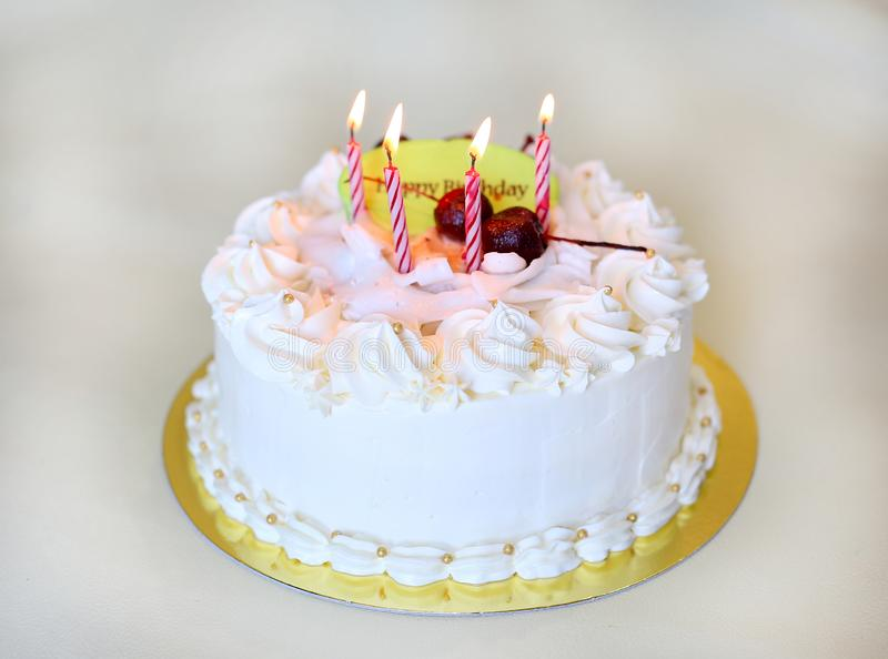 A Birthday cake with candles.  stock image