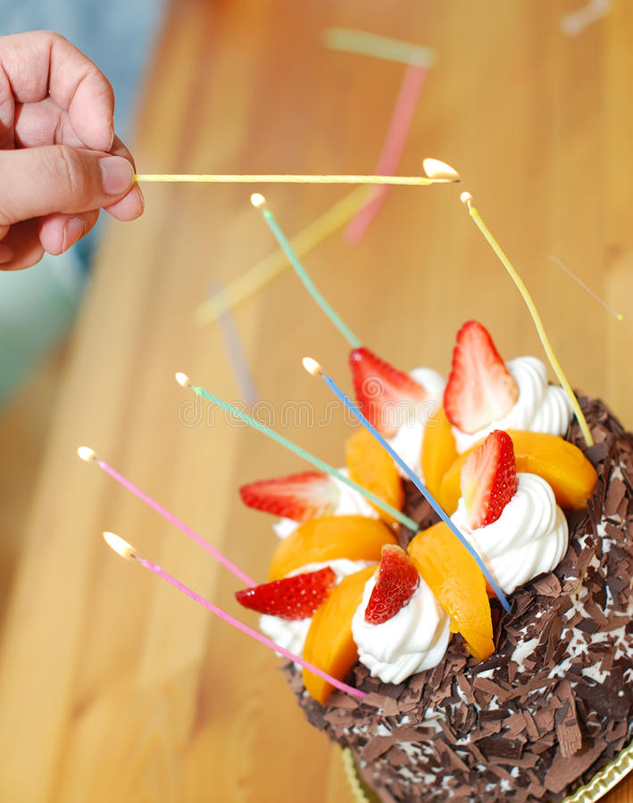 Download Birthday cake and candles stock image. Image of birthday - 23948167