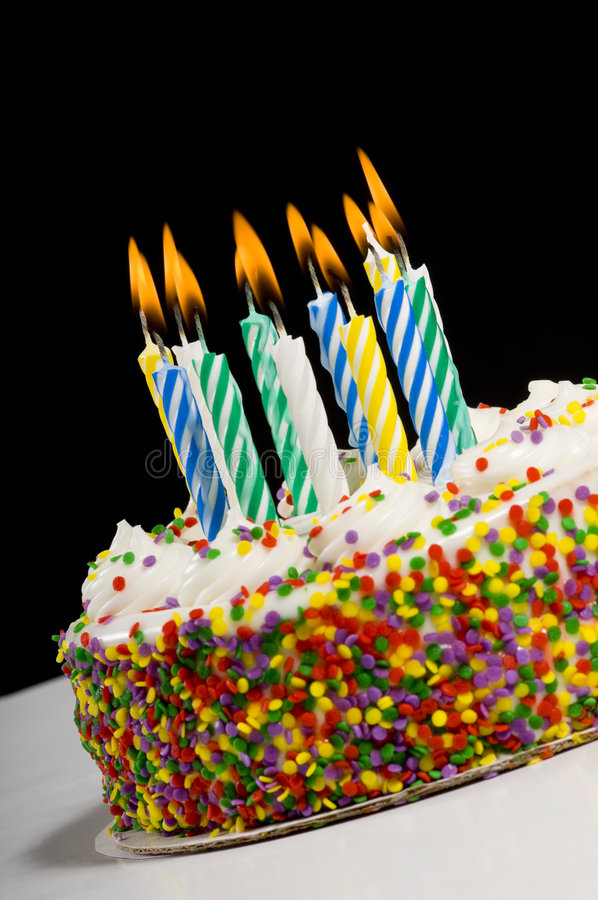 Birthday Cake with Candles. A colorful birthday cake with candles stock photos