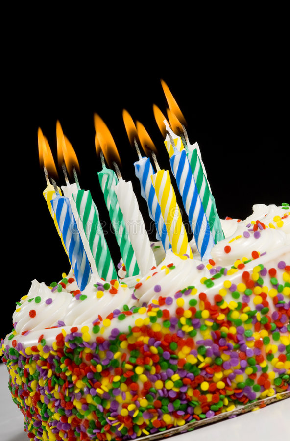 Birthday Cake with Candles. A colorful birthday cake with candles royalty free stock image