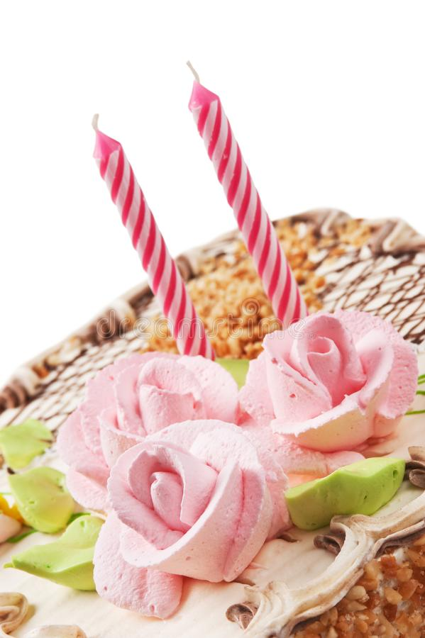 Birthday cake with candles. Isolated on white background stock photos