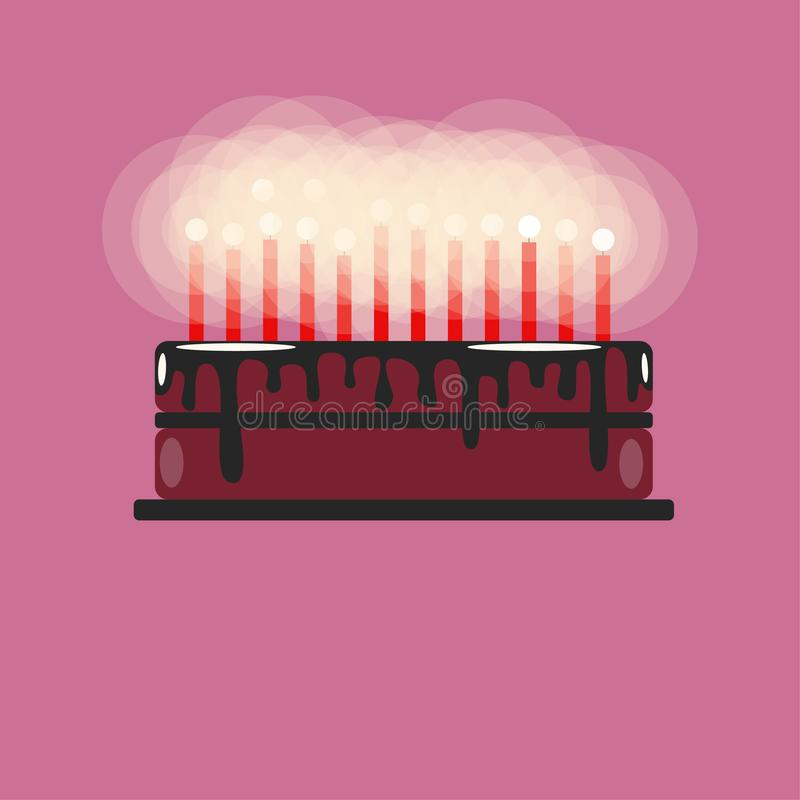 Birthday cake with candles. With chocolate coating. Place for text stock illustration