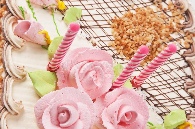 Birthday cake with candles. Close up stock image