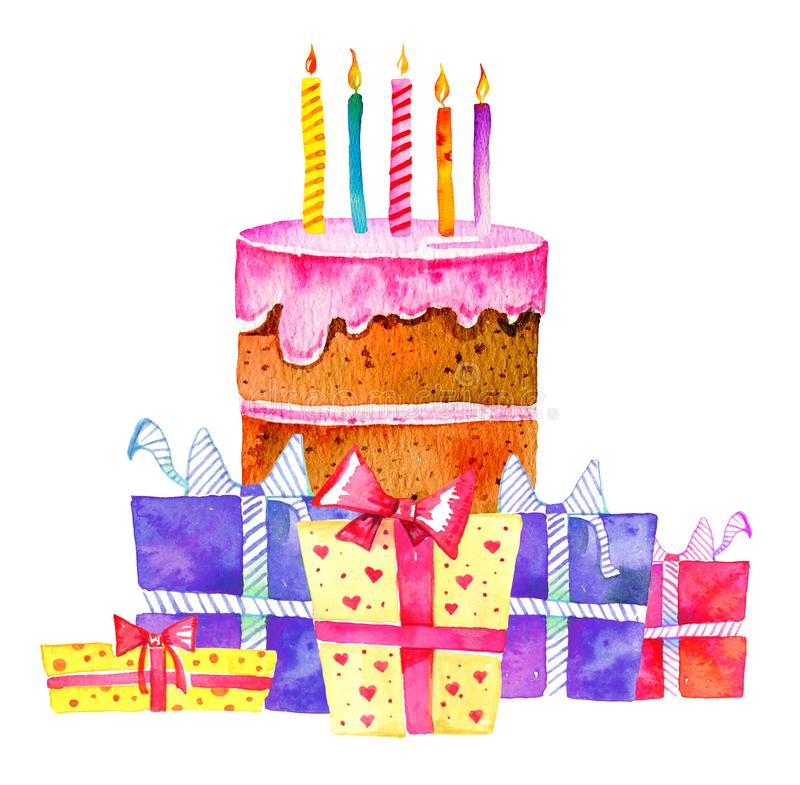 Birthday cake with candles and different gift boxes. Hand drawn cartoon watercolor sketch illustration stock illustration