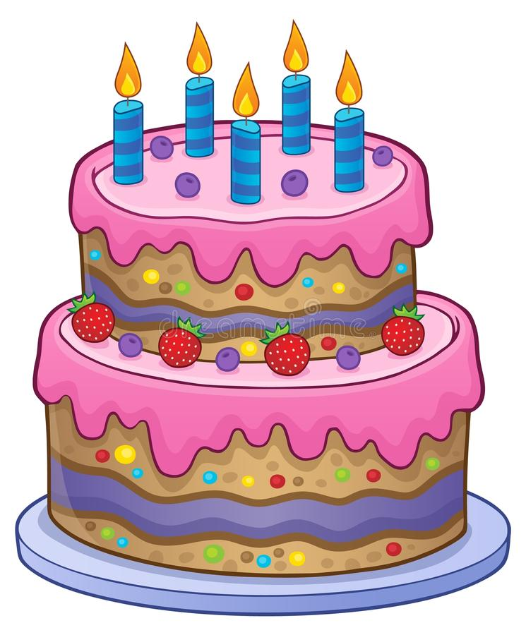 Birthday cake with 5 candles royalty free illustration