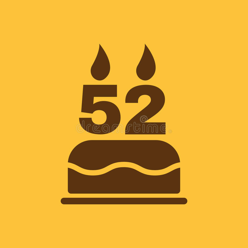 The birthday cake with candles in the form of number 52 icon. Birthday symbol. Flat. Vector illustration vector illustration