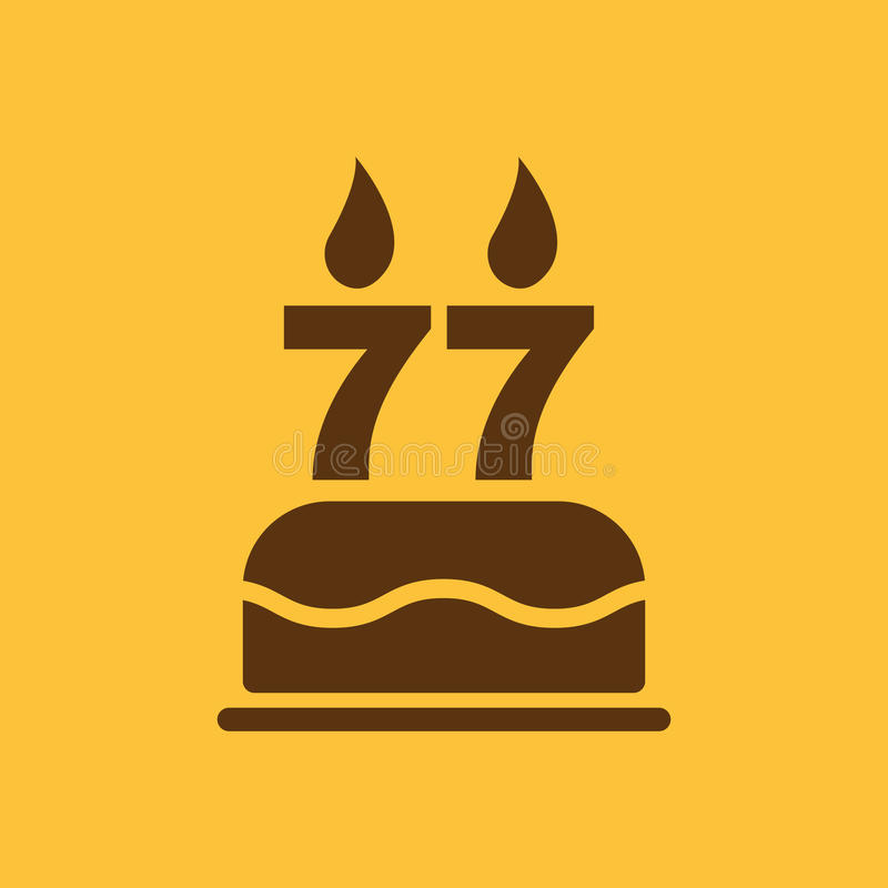 The Birthday Cake With Candles In The Form Of Number 77 Icon