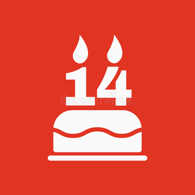 The birthday cake with candles in the form of number 14 icon. Birthday symbol. Flat stock illustration