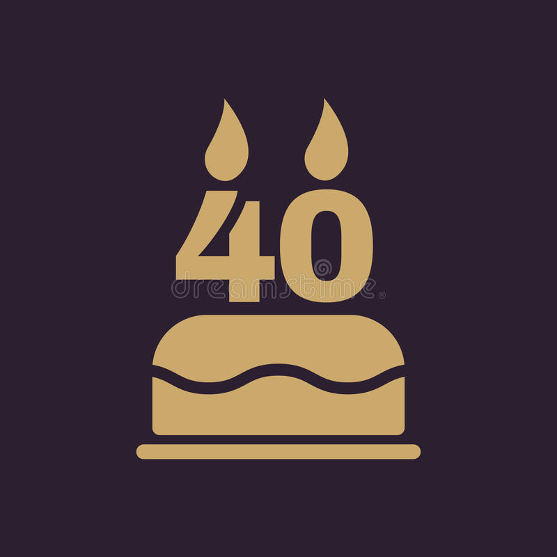 The birthday cake with candles in the form of number 40 icon. Birthday symbol. Flat stock illustration
