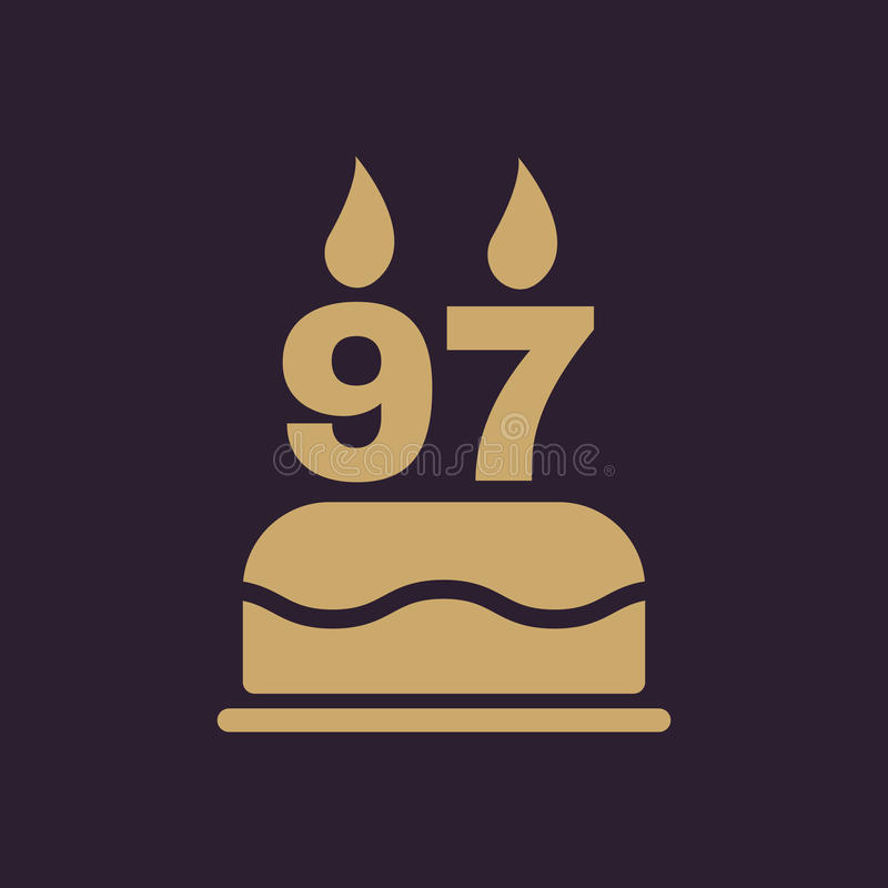 The birthday cake with candles in the form of number 97 icon. Birthday symbol. Flat. Vector illustration vector illustration