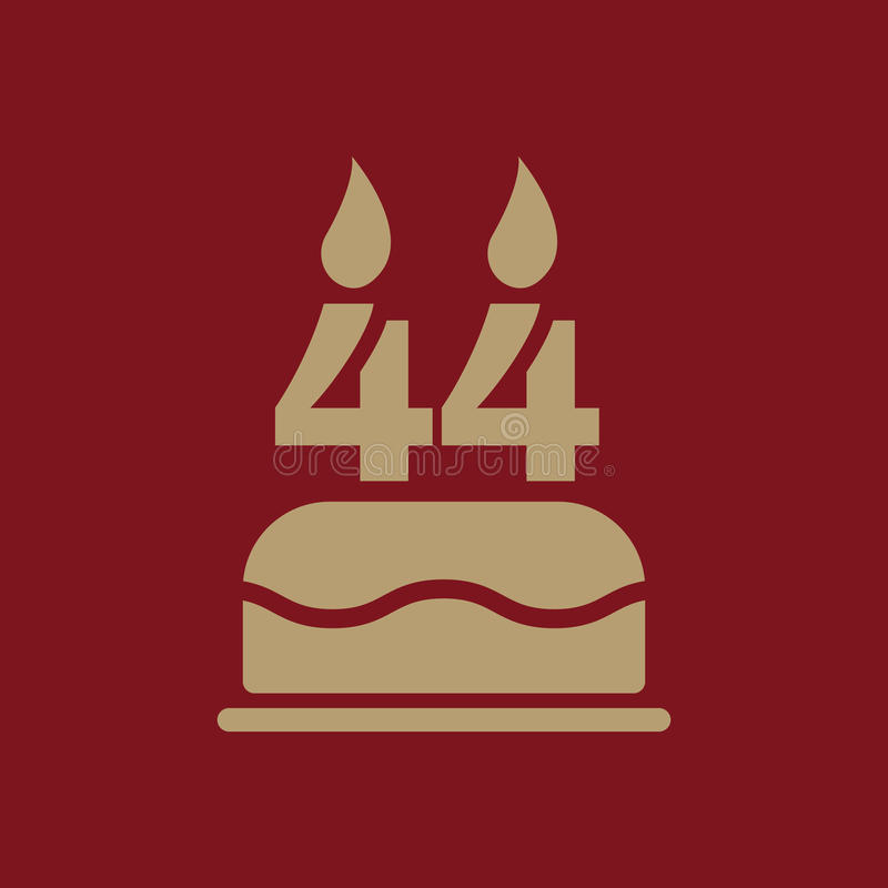 The birthday cake with candles in the form of number 44 icon. Birthday symbol. Flat. Vector illustration royalty free illustration
