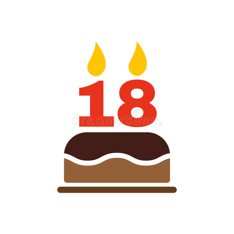 The birthday cake with candles in the form of number 18 icon. Birthday symbol. Flat stock illustration