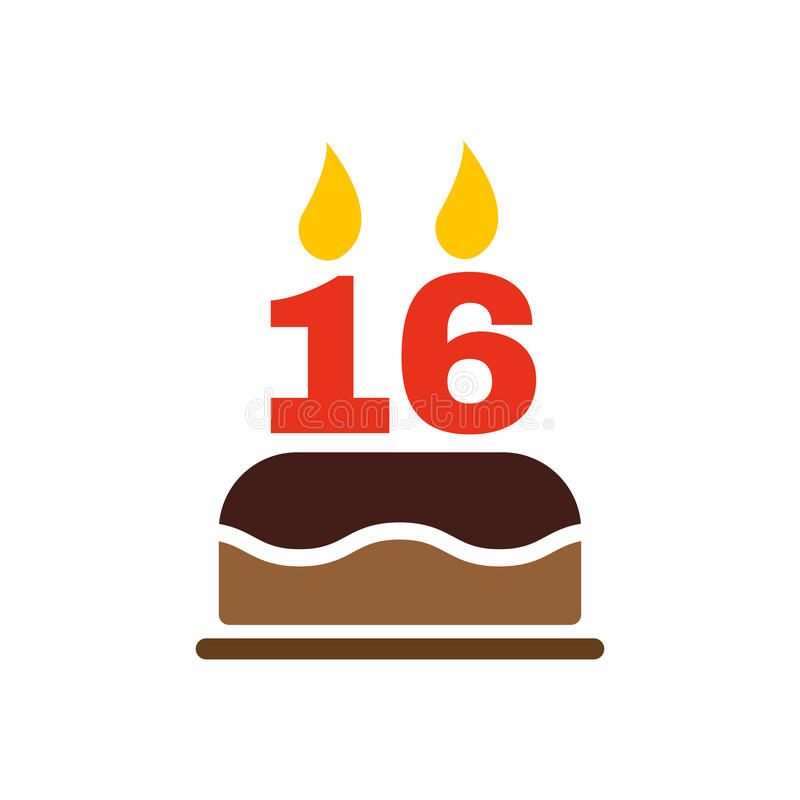 The Birthday Cake With Candles In The Form Of Number 16 Icon