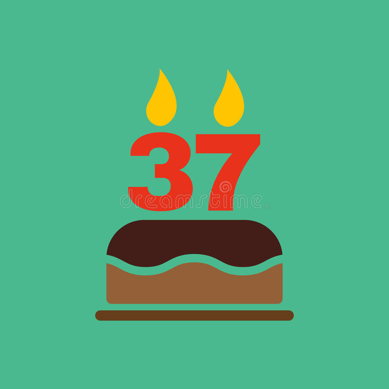 The Birthday Cake With Candles In The Form Of Number 37 Icon