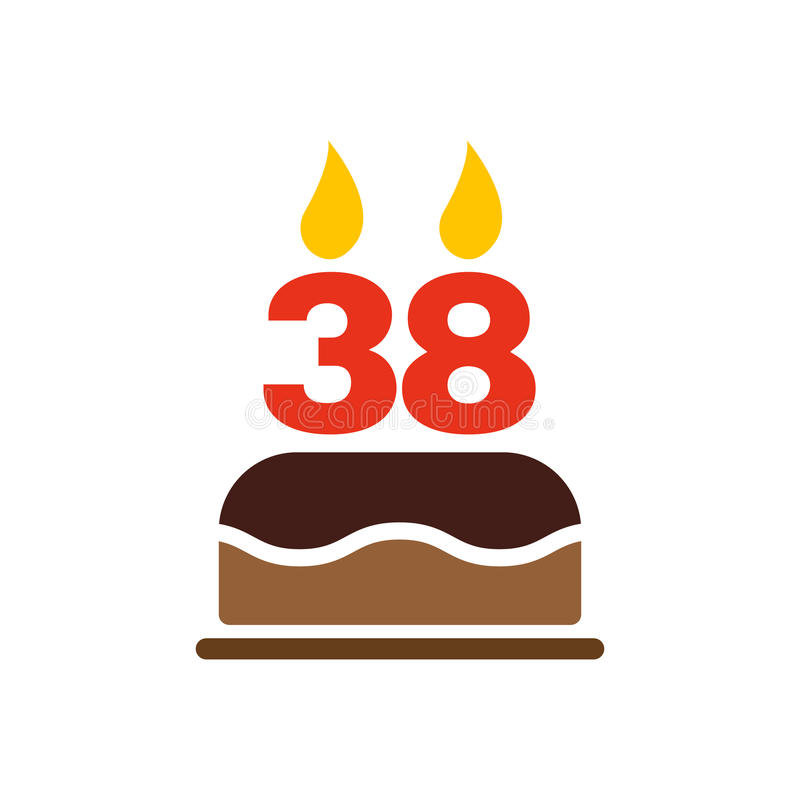 The birthday cake with candles in the form of number 38 icon. Birthday symbol. Flat royalty free illustration