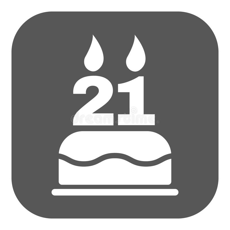 The Birthday Cake With Candles In The Form Of Number 21 Icon