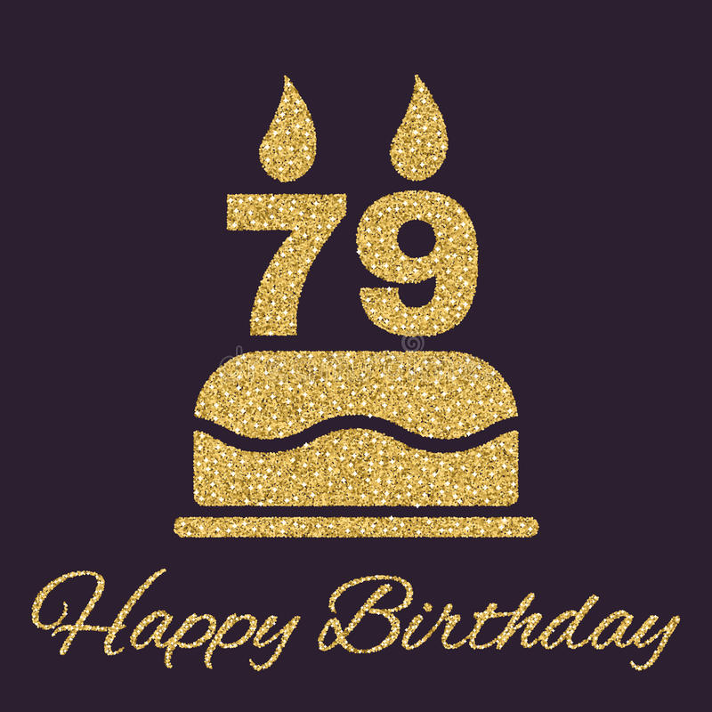 The birthday cake with candles in the form of number 79 icon. Birthday symbol. Gold sparkles and glitter. Vector illustration royalty free illustration