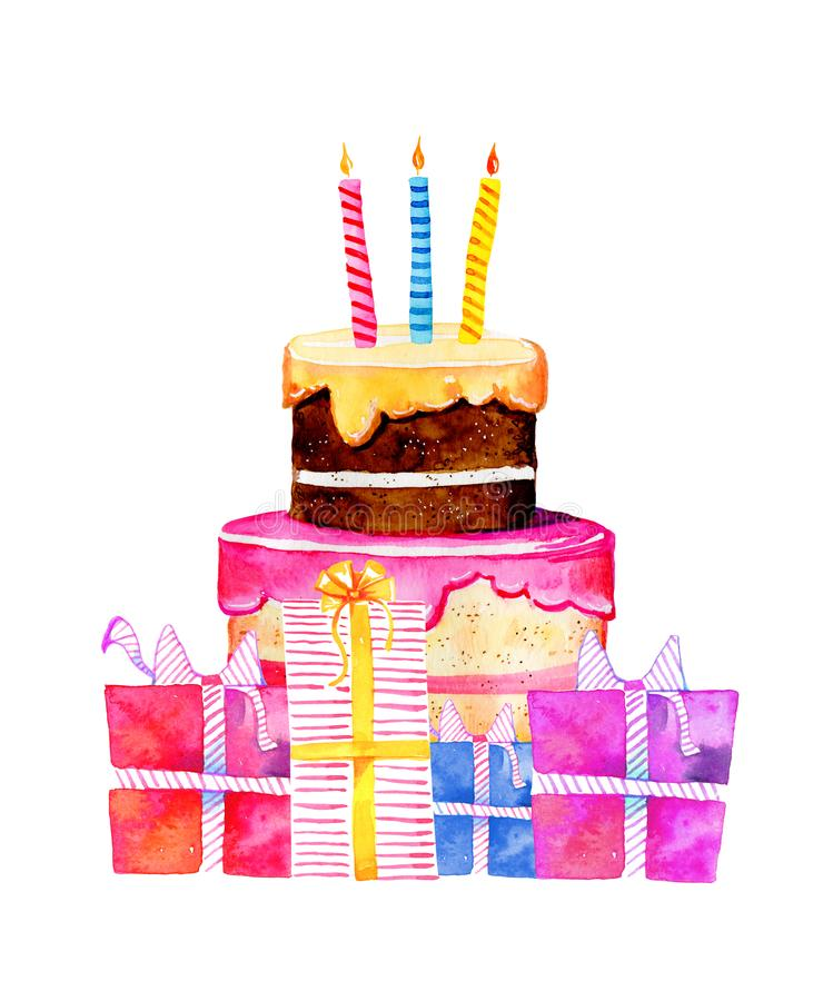 Birthday cake with candles and gift boxes. Hand drawn cartoon watercolor sketch illustration stock illustration