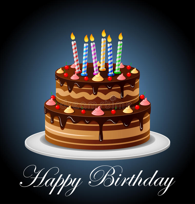 Birthday Cake with candles stock illustration