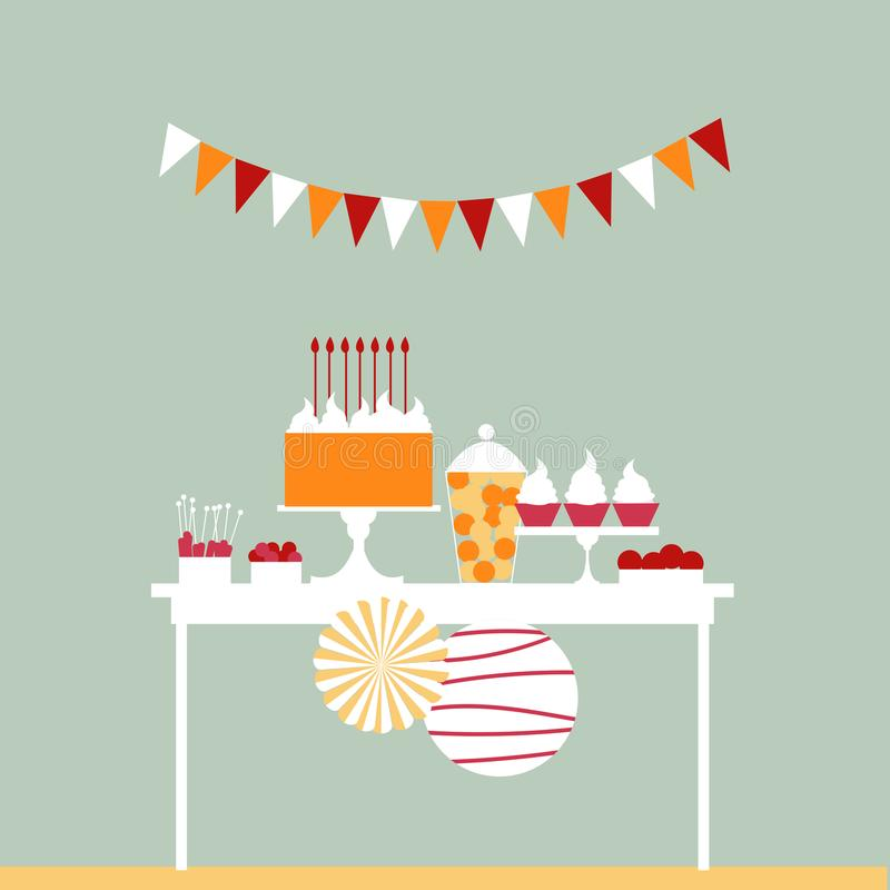 birthday cake candles illustration vector γλυκό μπουφέδων Πίνακας επιδορπίων Vecto διανυσματική απεικόνιση