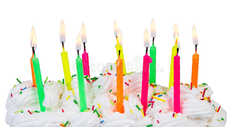 Birthday cake with candles. Isolated on white background stock photo