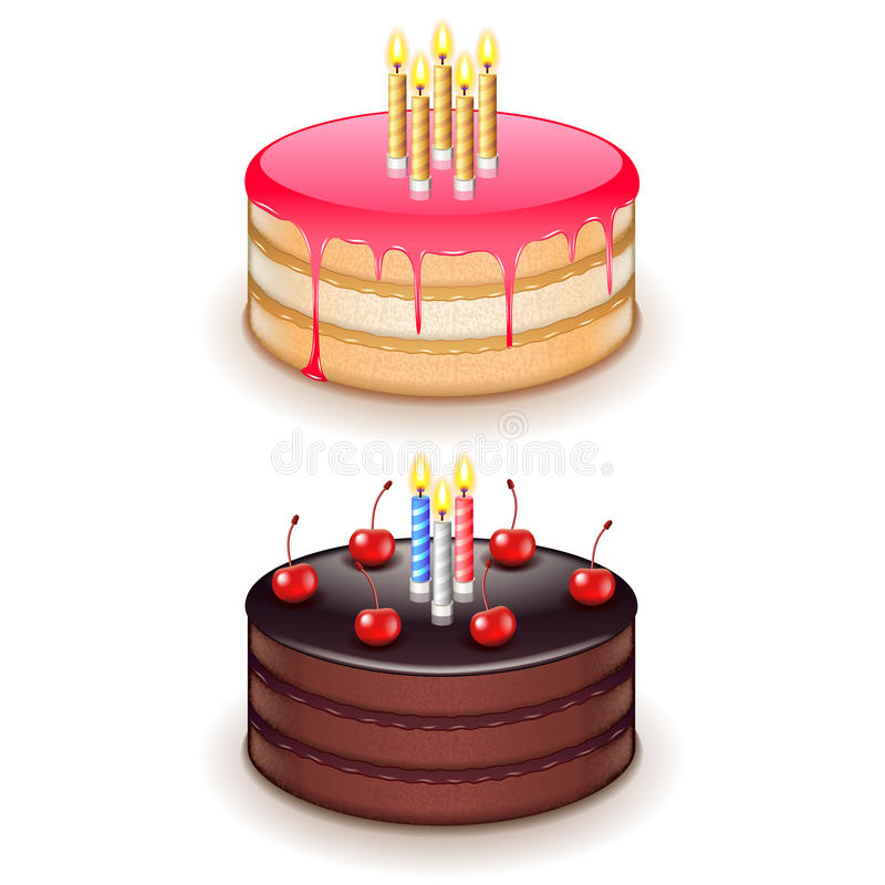 Birthday cake with candles isolated on white vector vector illustration