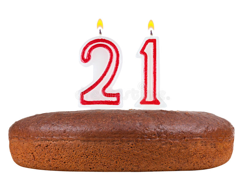 Birthday Cake With Candles Number 21 Isolated Stock Illustration