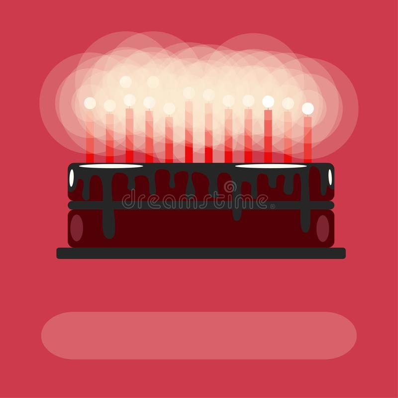 Birthday cake with candles. On a pink background. Flat royalty free illustration