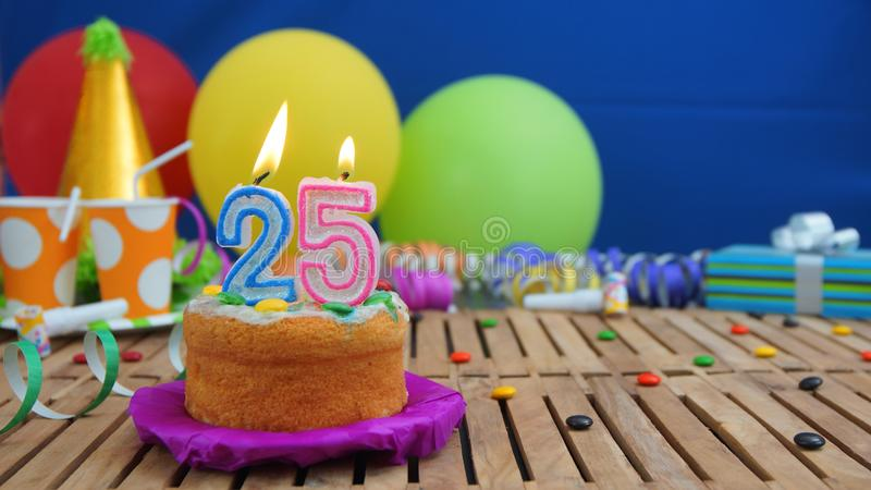 Birthday 25 Cake With Candles On Rustic Wooden Table With ...