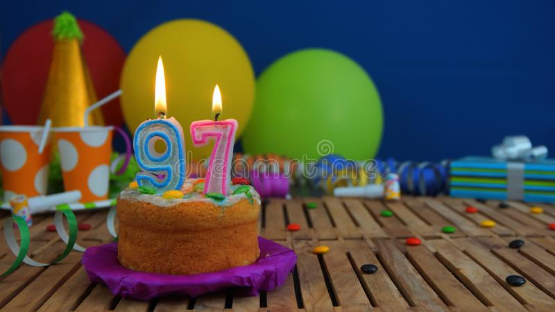 Birthday 97 Cake With Candles On Rustic Wooden Table With ...