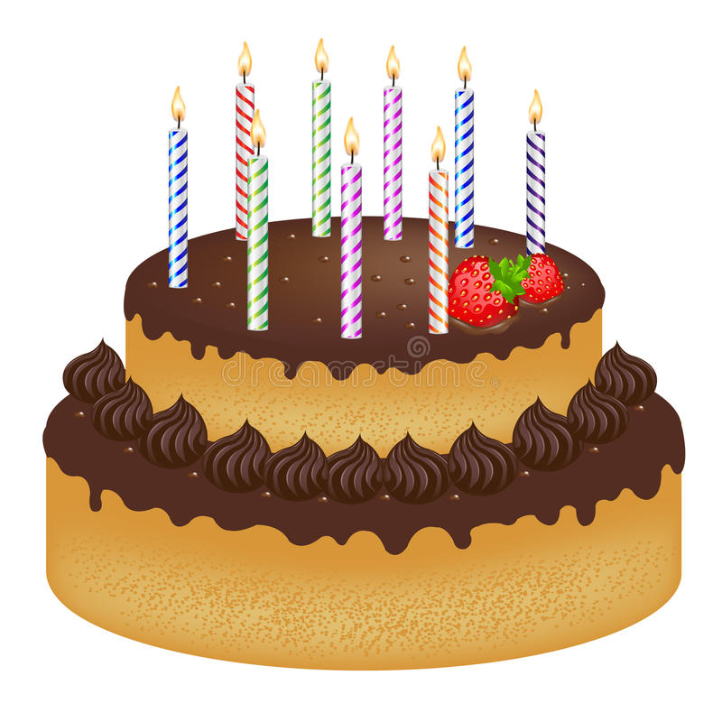Birthday Cake With Candles Vector Stock Vector Illustration of