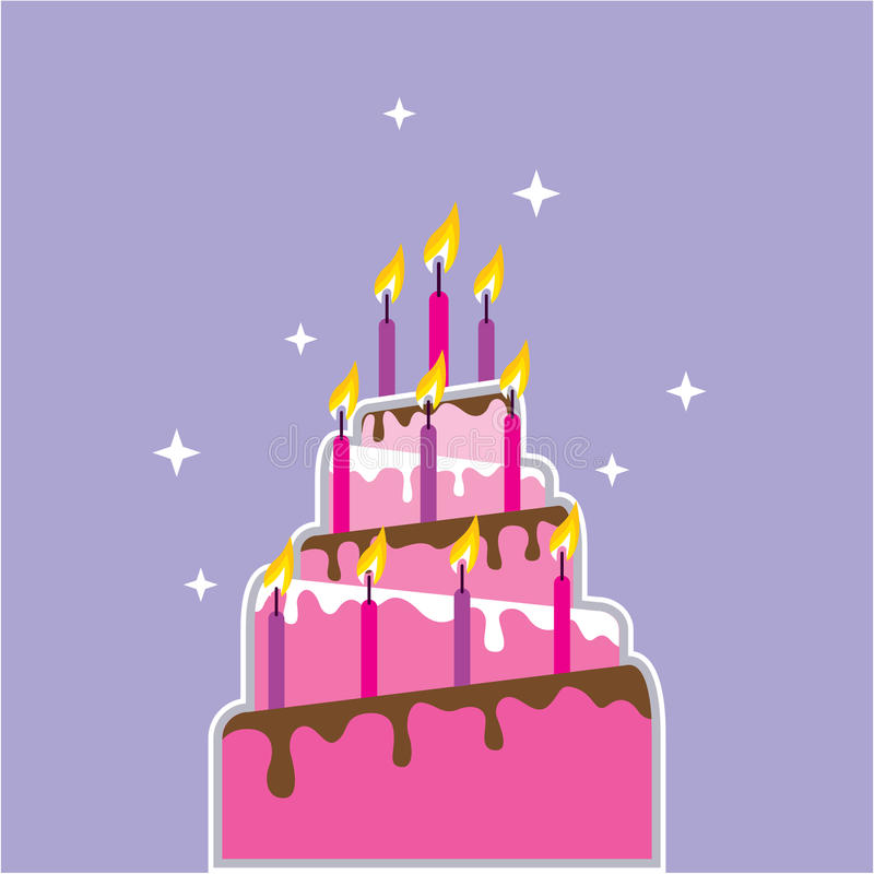 Birthday Cake 10 Candles Vector Stock Vector Illustration of color