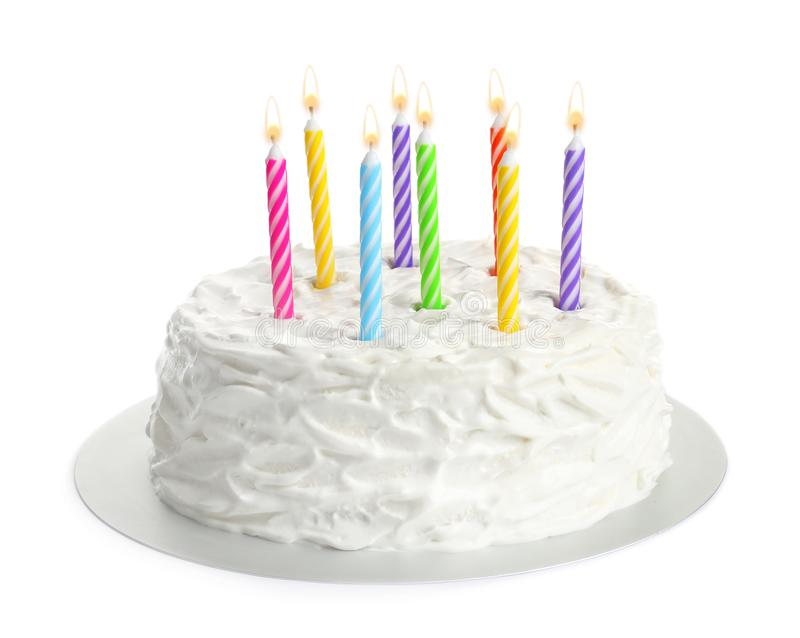 Birthday cake with candles. On white background stock photography