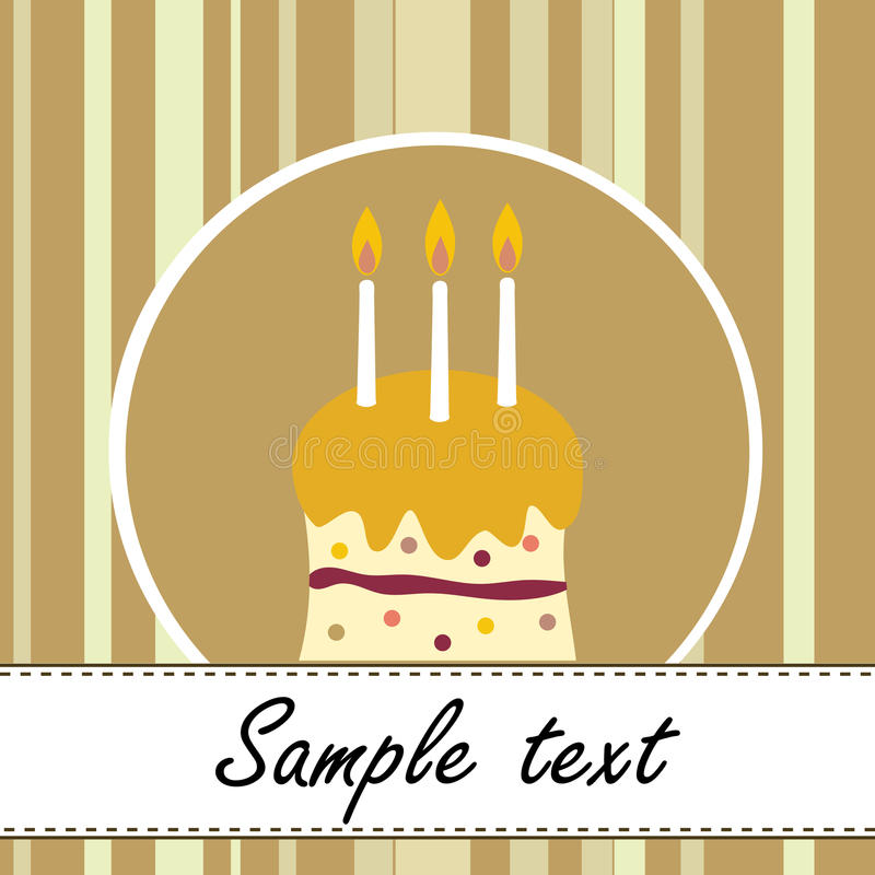 Birthday cake card. With three white candles vector illustration