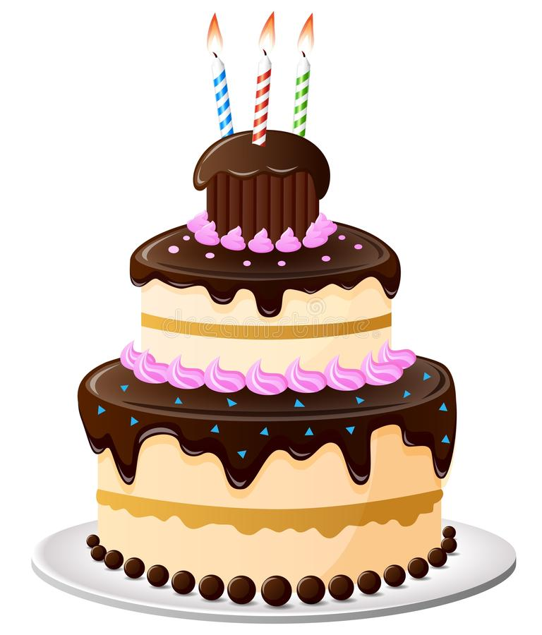 Birthday cake cartoon stock illustration